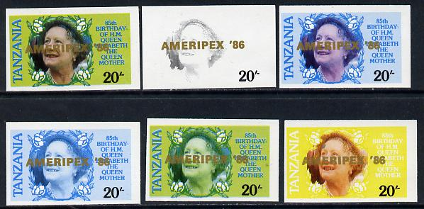 Tanzania 1986 Queen Mother 20s (SG 425 with 'AMERIPEX 86' opt in gold) set of 6 imperf progressive colour proofs unmounted mint
