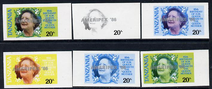 Tanzania 1986 Queen Mother 20s (SG 425 with 'AMERIPEX 86' opt in silver) set of 6 imperf progressive colour proofs unmounted mint