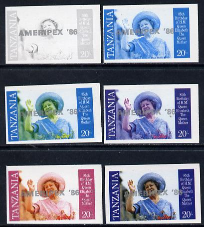 Tanzania 1986 Queen Mother 20s (SG 426 with 'AMERIPEX 86' opt in silver) set of 6 imperf progressive colour proofs unmounted mint