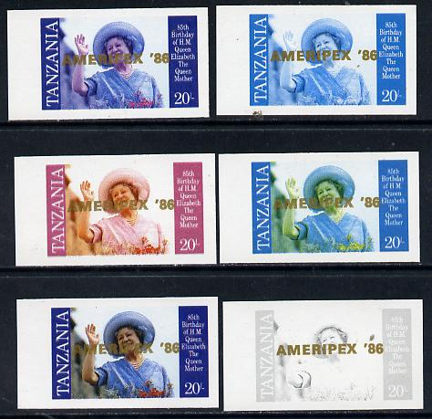 Tanzania 1986 Queen Mother 20s (SG 426 with 'AMERIPEX 86' opt in gold) set of 6 imperf progressive colour proofs unmounted mint