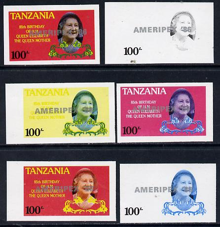 Tanzania 1986 Queen Mother 100s (SG 427 with 'AMERIPEX 86' opt in silver) set of 6 imperf progressive colour proofs unmounted mint