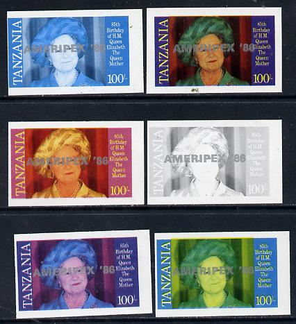 Tanzania 1986 Queen Mother 100s (SG 428 with 'AMERIPEX 86' opt in silver) set of 6 imperf progressive colour proofs unmounted mint
