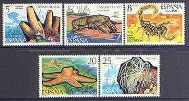 Spain 1979 Spanish Fauna (7th issue) Invertebrates perf set of 5 unmounted mint, SG 2579-83