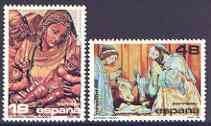 Spain 1986 Christmas Wood Carvings perf set of 2 unmounted mint, SG 2889-90
