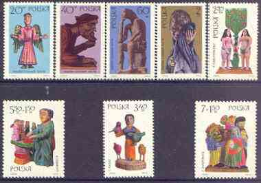 Poland 1969 Polish Folk Sculpture perf set of 8 unmounted mint, SG 1951-58