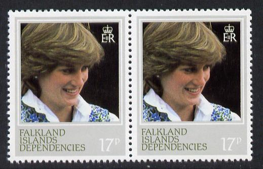 Falkland Islands Dependencies 1982 Princess Di's 21st Birthday 17p pair perf 13.5 variety unmounted mint (SG 109a)