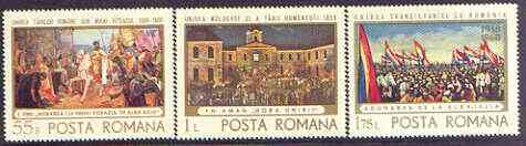 Rumania 1968 Paintings of Union with Transylvania perf set of 3 unmounted mint, SG 3606-08