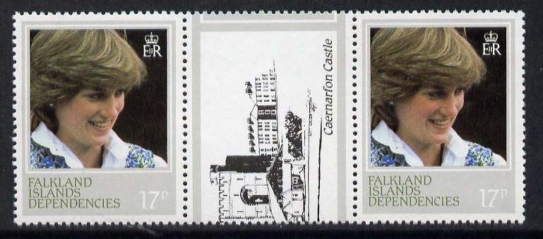 Falkland Islands Dependencies 1982 Princess Di's 21st Birthday 17p the scarce perf 13.5 in unmounted mint gutter pair (SG 109a)