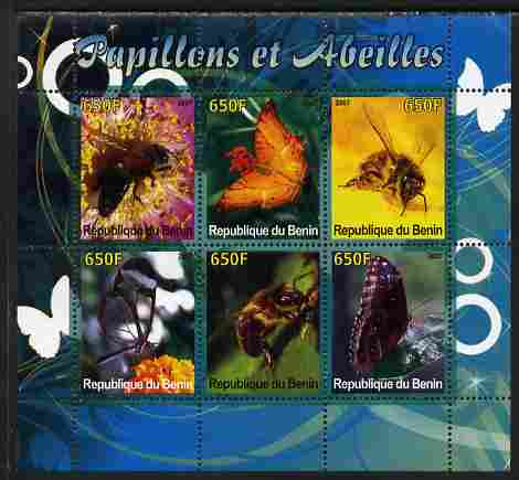 Benin 2007 Butterflies & Bees perf sheetlet containing 6 values unmounted mint. Note this item is privately produced and is offered purely on its thematic appeal