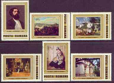 Rumania 1981 Birth Anniversary of Theodor Aman (painter) perf set of 6 unmounted mint, SG 4652-57, stamps on arts, stamps on battles