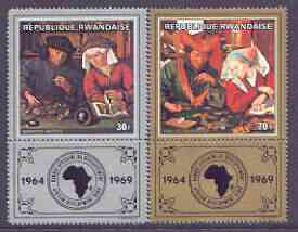 Rwanda 1969 African Development Bank (Paintings) perf set of 2 with tabs unmounted mint, SG 305-06