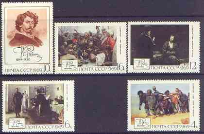 Russia 1968 Birth Anniversary of Ilya Repin (painter) perf set of 5 unmounted mint, SG 3713-17