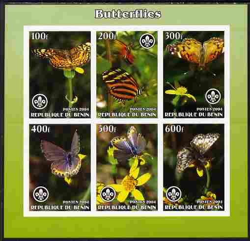 Benin 2004 Butterflies imperf sheetlet containing set of 6 values each with Scouts logo unmounted mint. Note this item is privately produced and is offered purely on its thematic appeal