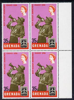 Grenada 1968 Scout Bugler 35c block of 4, one stamp with variety 'dot in hat' (R4/8) unmounted mint