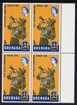 Grenada 1968 Scout Bugler 1c block of 4, one stamp with variety