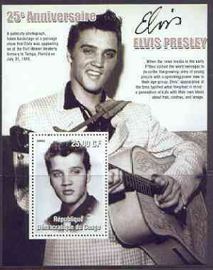 Congo 2002 25th Death Anniversary of Elvis Presley perf souvenir sheet #1 (1955 B&W portrait of Elvis in Tampa) unmounted mint