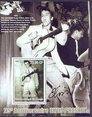 Congo 2002 25th Death Anniversary of Elvis Presley perf souvenir sheet #2 (1955 B&W pic of Elvis with guitar in Tampa) unmounted mint