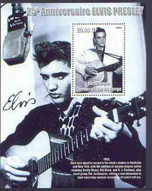 Congo 2002 25th Death Anniversary of Elvis Presley perf souvenir sheet #3 (1955 B&W pic of Elvis in recording studio) unmounted mint