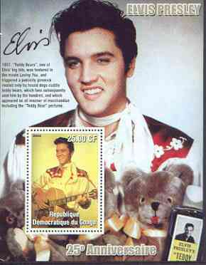 Congo 2002 25th Death Anniversary of Elvis Presley perf souvenir sheet #5 (1957 colour pic of Elvis with Teddy Bears) unmounted mint
