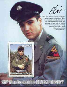 Congo 2002 25th Death Anniversary of Elvis Presley perf souvenir sheet #6 (1958 colour pic of Elvis in GI uniform) unmounted mint