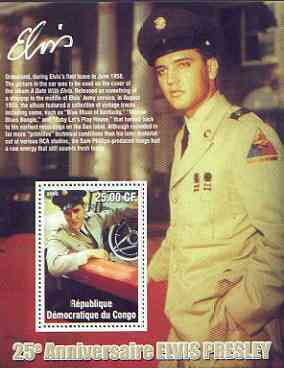 Congo 2002 25th Death Anniversary of Elvis Presley perf souvenir sheet #7 (1958 colour pic of Elvis in GI uniform in car) unmounted mint