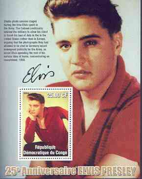 Congo 2002 25th Death Anniversary of Elvis Presley perf souvenir sheet #8 (1959 colour pic of Elvis in red shirt) unmounted mint