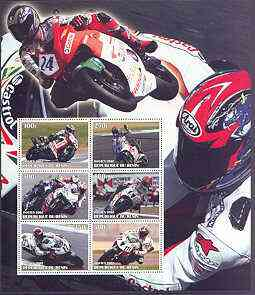 Benin 2002 Racing Motorcycles #1 special large perf sheet containing 6 values unmounted mint