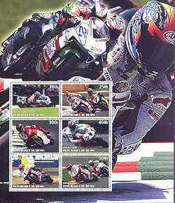Benin 2002 Racing Motorcycles #2 special large perf sheet containing 6 values unmounted mint