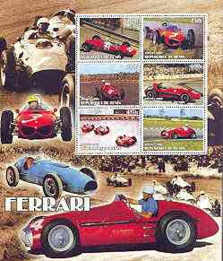 Benin 2002 Ferrari Racing Cars special large perf sheet containing 6 values unmounted mint