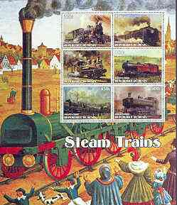 Benin 2002 Steam Locomotives special large perf sheet containing 6 values unmounted mint