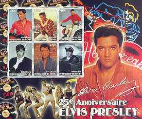 Benin 2002 Elvis Presley 25th Death Anniversary special large perf sheet containing 6 values unmounted mint