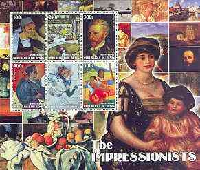 Benin 2002 The Impressionists #1 special large perf sheet containing 6 values unmounted mint