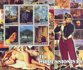 Benin 2002 The Impressionists #5 special large perf sheet containing 6 values unmounted mint