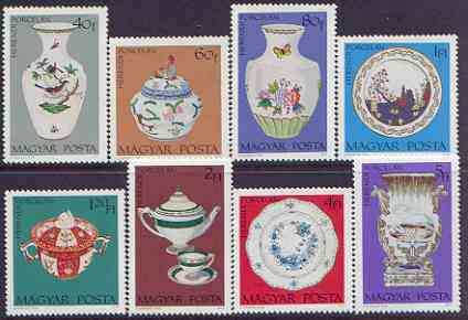 Hungary 1972 Herendi Porcelain perf set of 8 unmounted mint, SG 2709-16