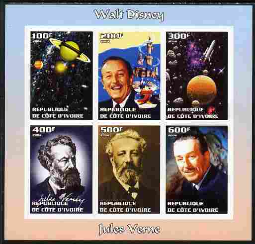 Ivory Coast 2004 Walt Disney & Jules Verne imperf sheetlet containing 6 values unmounted mint. Note this item is privately produced and is offered purely on its thematic appeal