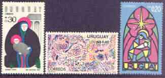 Uruguay 1975 Christmas perf set of 3 unmounted mint, SG 1624-26