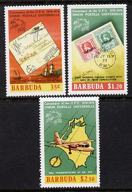 Barbuda 1974 Centenary of Universal Postal Union perf set of 3 unmounted mint SG 177-9