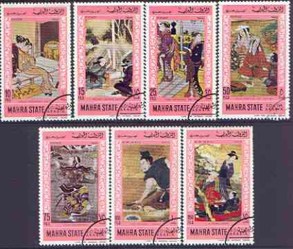 Aden - Mahra 1968 Japanese Paintings perf set of 7 cto used, Mi 75-81A