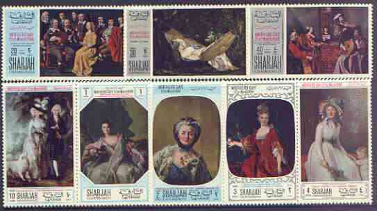 Sharjah 1968 Mothers Day paintings perf set of 8 unmounted mint, Mi 426-33