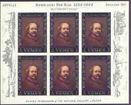 Yemen - Royalist 1967 Rembrandt imperf set of 6 (borders in silver) each in sheetlets of 6 (with Windmills & Amphilex in margins) unmounted mint SG R205-10, Mi 284-89B