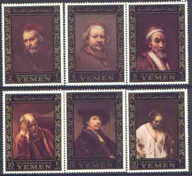Yemen - Royalist 1967 Rembrandt perf set of 6 (borders in gold) unmounted mint as SG R205-10, Mi 278-83A, stamps on arts, stamps on personalities, stamps on rembrandt, stamps on renaissance