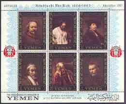 Yemen - Royalist 1967 Rembrandt perf m/sheet containing set of 6 (borders in gold) with Amphilex in margin unmounted mint, Mi BL 37A