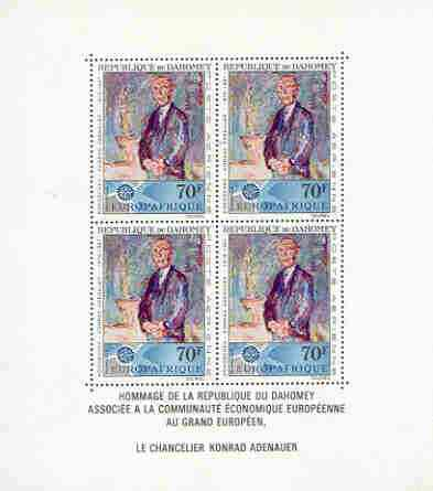 Dahomey 1967 Dr Ardenauer Commem oration perf sheetlet containing block of 4 unmounted mint, as SG 294