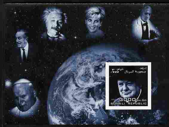 Somalia 2004 Personalities - Churchill imperf m/sheet (with Diana, Pope, Einstein, Fleming & Disney in margin) unmounted mint. Note this item is privately produced and is offered purely on its thematic appeal
