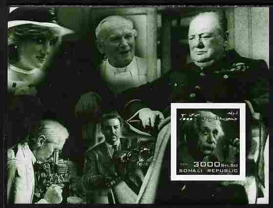 Somalia 2004 Personalities - Einstein imperf m/sheet (with Diana, Pope, Churchill, Fleming & Disney in margin) unmounted mint. Note this item is privately produced and is offered purely on its thematic appeal