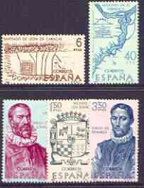Spain 1968 Explorers & Colonisers of America (8th issue) perf set of 5 unmounted mint, SG 1947-51