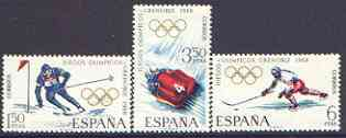 Spain 1968 Grenoble Winter Olympic Games perf set of 3 unmounted mint, SG 1909-11