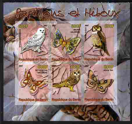Benin 2007 Butterflies & Owls #4 imperf sheetlet containing 6 values unmounted mint. Note this item is privately produced and is offered purely on its thematic appeal