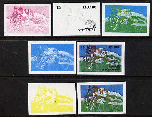 Lesotho 1988 Tennis Federation 12s (Yannick Noah) unmounted mint set of 7 imperf progressive colour proofs comprising the 4 individual colours plus 2, 3 and all 4-colour composites (as SG 843)
