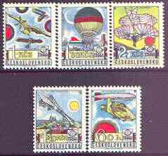 Czechoslovakia 1977 'Praga 78' Stamp Exhibition (6th issue - Early Aviation) perf set of 5 unmounted mint, SG 2358-62